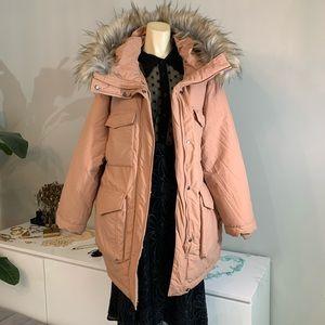 H&M padded fur puffer jacket peach nude medium